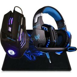 3.5mm Gaming Headset MIC LED Headphones+ USB Mouse Mice for