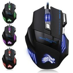 5500DPI LED Optical USB Wired Gaming Mouse 7 Buttons Gamer L