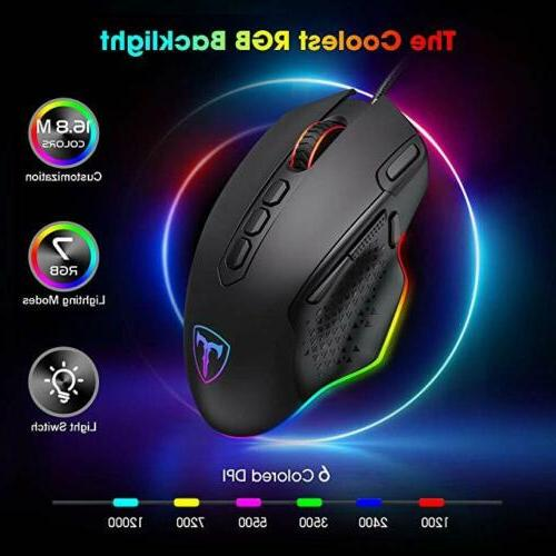 12000DPI RGB Gaming Mouse 10Buttons Computer PC Gamer
