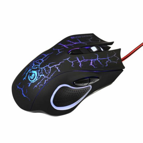 5500DPI LED Optical Wired Gaming for PC Pro Gamer