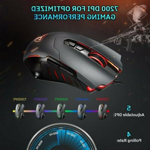 Victsing 7200DPI LED Wired Gaming Buttons Gamer Computer