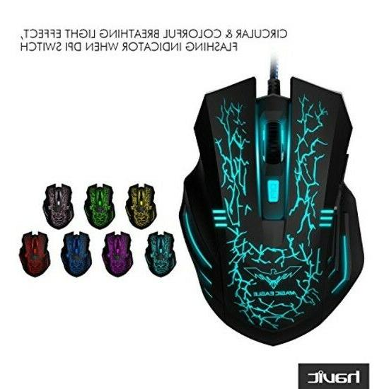mouse gaming wired optical mice usb led