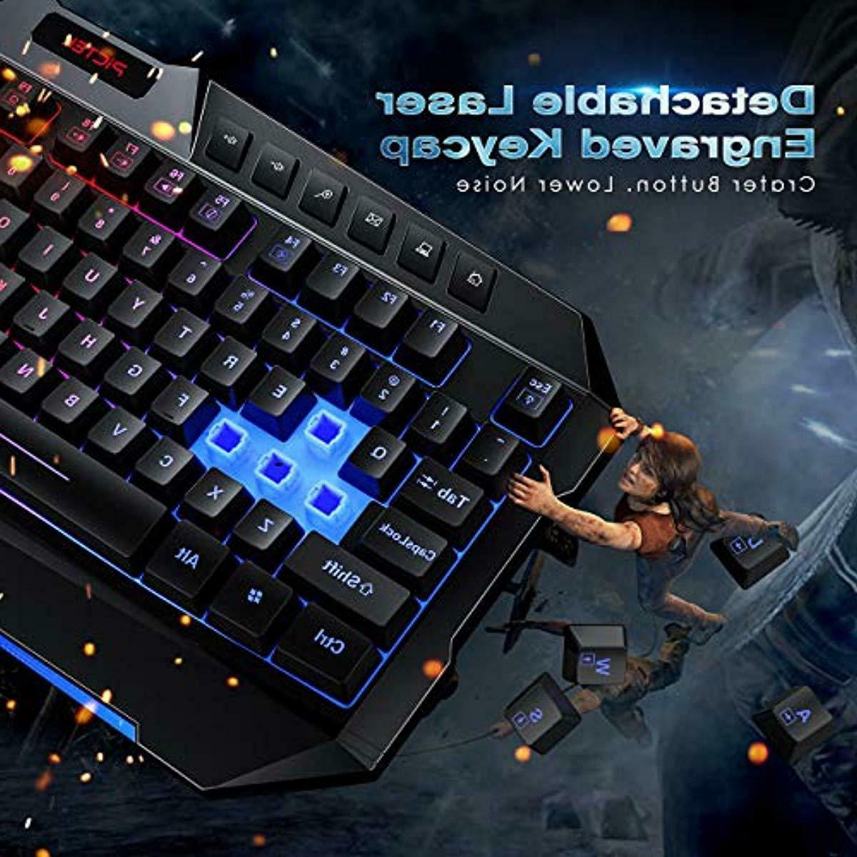 Rainbow Backlit Keyboard Mac PC Black New