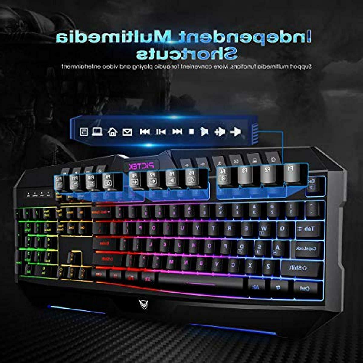 Rainbow Backlit Keyboard & Mouse Mac Black New