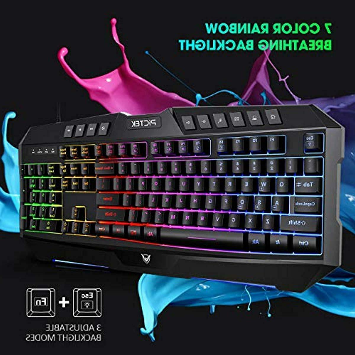 Rainbow Backlit & For Mac Gamers Black New