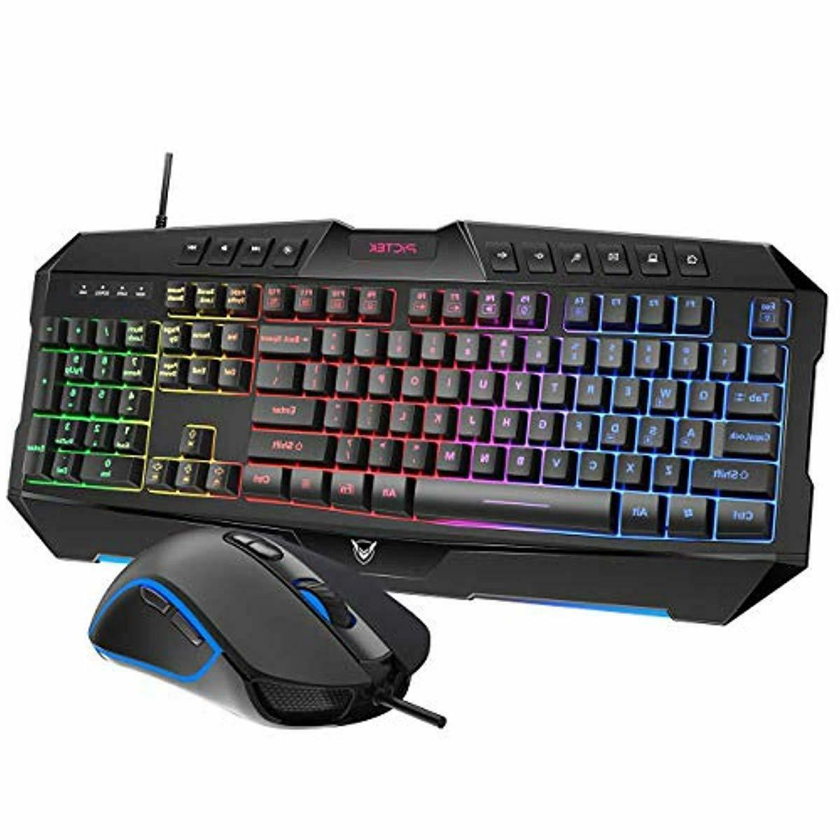 rainbow led backlit keyboard and mouse combo