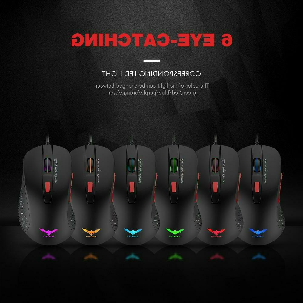 Wired Gaming Mouse Optical LED Lights 6 Buttons USB Laptop Desktop